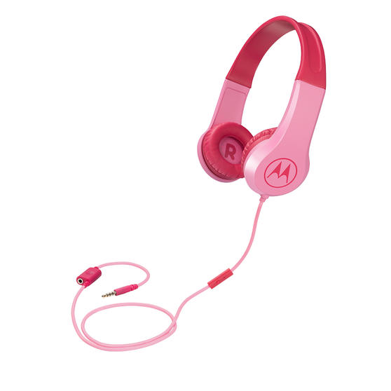 Motorola SQUADS200PN Squads 200 Kids Wired Headphones with Anti-Allergic Cushion Pads | Pink