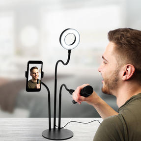 Activate EE5782BLKSTKEU7 3 in 1 Streaming Stand with Light Ring | Includes Phone and Microphone Holder | Perfect for Recording Videos or Taking Selfies Thumbnail 9