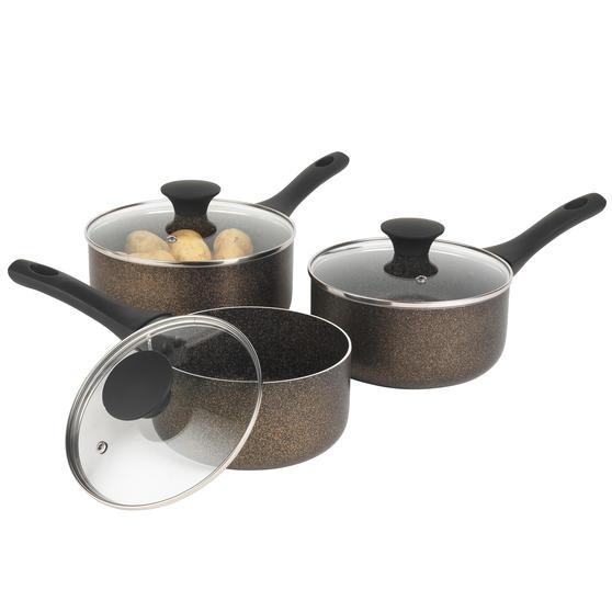 Russell Hobbs Crystaltech Non-Stick Saucepan Set  3 Piece   16/18/20 cm   Metal Utensil Safe   Dishwasher Safe   Bronze Preview