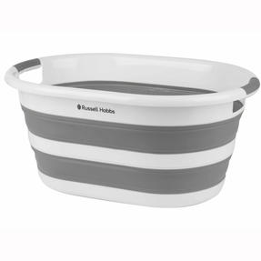 Russell Hobbs Collapsible Plastic Oval Laundry Basket, 27 L, White/Grey Thumbnail 1