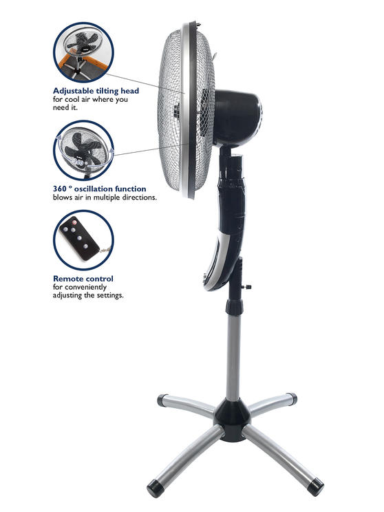 Beldray® EH1331 Premium 360° Oscillating Pedestal Fan with Remote Control | 16 I Thumbnail 3