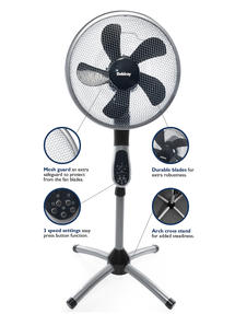 Beldray EH1331 Premium 360 degree Oscillating Pedestal Fan with Remote Control, 3 Speed Settings, 7.5 Hour Timer Function, Silver/ Black  Thumbnail 2