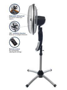 Beldray EH1331 Premium 360 degree Oscillating Pedestal Fan with Remote Control, 3 Speed Settings, 7.5 Hour Timer Function, Silver/ Black  Thumbnail 3