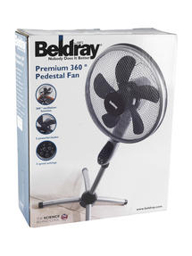 Beldray EH1331 Premium 360 degree Oscillating Pedestal Fan with Remote Control, 3 Speed Settings, 7.5 Hour Timer Function, Silver/ Black  Thumbnail 6