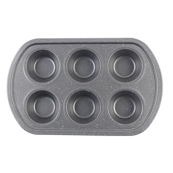 Progress® BW08284EU Non-Stick Metallic Marble 6 Cup Muffin Tray | Carbon Steel |