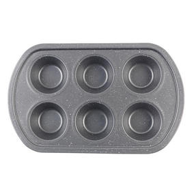 Progress® BW08284EU Non-Stick Metallic Marble 6 Cup Muffin Tray | Carbon Steel | Dishwasher Safe Thumbnail 1