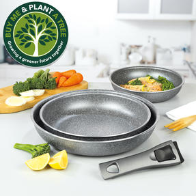 Progress® BW09639EU 4 Piece Non-Stick Clip and Cook Fry Pan Set   Including 20, 24, 28 cm Fry Pan with One Detachable Handle Thumbnail 2