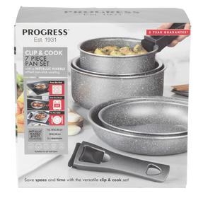 Progress® BW09640EU 7 Piece Non-Stick Clip and Cook Pan Set | Including 20/24 cm Fry Pans and 16/18/20 cm Saucepans with Two Detachable Handle Thumbnail 4