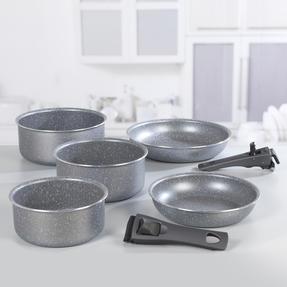 Progress® BW09640EU 7 Piece Non-Stick Clip and Cook Pan Set | Including 20/24 cm Fry Pans and 16/18/20 cm Saucepans with Two Detachable Handle Thumbnail 5