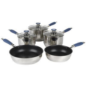 Russell Hobbs® RH01179EU 5 Piece Stainless Steel Pan Set | Blue | Including 16, 18, 20 cm Saucepans, 14 cm Milk Pan and a 24 cm Fry Pan