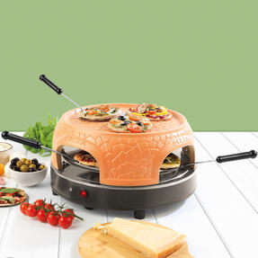 Giles & Posner® EK4025G Family Sharing Pizza Maker with Terracotta Dome | 800 W | Serve up to 4 Mini Pizzas at Once | Power Ready and Indicator Lights Thumbnail 7