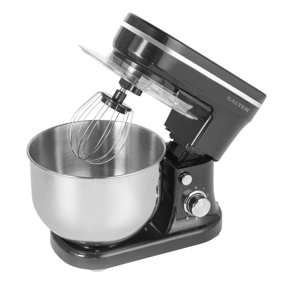 Salter® EK4245BLACK Stand Mixer with 6 Speed Settings and 5 Litre Capacity, 1200 W, Stainless Steel, Black