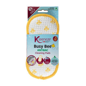 Kleeneze® KL076458EU7 Pack of 3 Anti-Bac Busy Bee Cleaning Pads | Treated with Anti-Bac Protection | Perfect for Removing Tough Stains