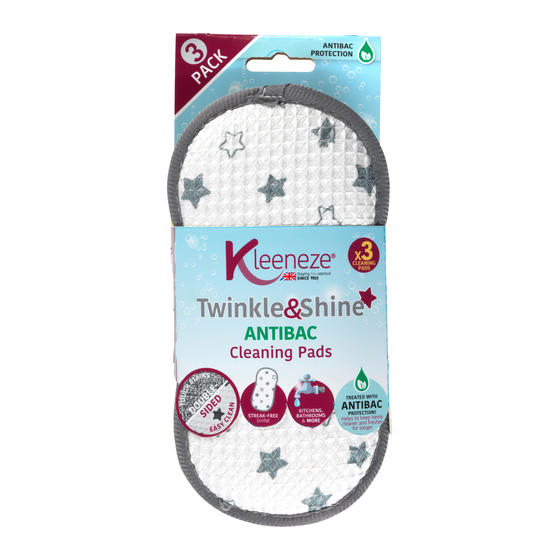 Kleeneze® KL076472EU7 Pack of 3 Anti-Bac Star Cleaning Pads | Treated with Anti-Bac Protection | Perfect for Removing Tough Stains
