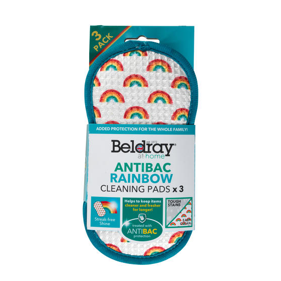 Beldray® LA076496EU7 Anti-Bac Rainbow Cleaning Pads | Treated with Anti-Bac Protection | Perfect for Removing Tough Stains and Cleaning Kitchens, Glass wear, Dishes