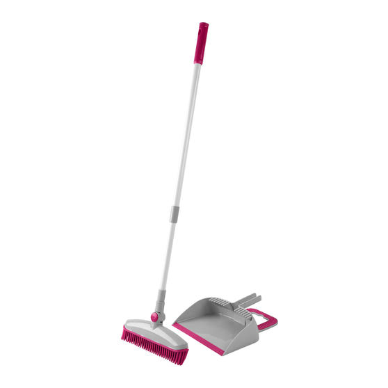Kleeneze® KL068354EU7 Rubber Head Dustpan and Brush with Telescopic Handle | 180° Swivel Head | Perfect for Cleaning Pet Hair & Dust