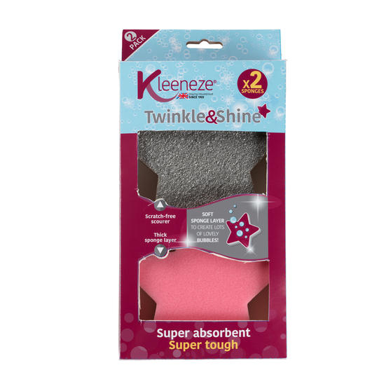 Kleeneze® KL072818EU Twinkle and Shine Sponge | Abrasive | Double Sided| Super Absorbent | Ergonomic Design | Pack Of 2