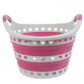 Kleeneze KL075130EU7 Space Saving Collapsible Laundry Basket, 50 L, Grey/Pink