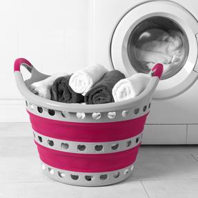 Kleeneze KL075130EU7 Space Saving Collapsible Laundry Basket, 50 L, Grey/Pink Thumbnail 2
