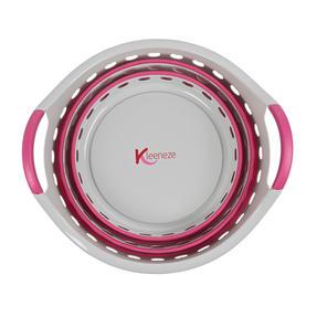 Kleeneze KL075130EU7 Space Saving Collapsible Laundry Basket, 50 L, Grey/Pink Thumbnail 4