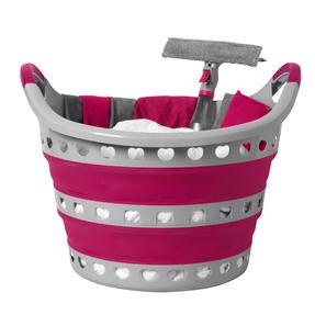 Kleeneze KL075130EU7 Space Saving Collapsible Laundry Basket, 50 L, Grey/Pink Thumbnail 5