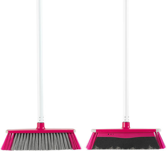 Kleeneze® KL076113EU7 2 in 1 Broom with 130 cm Handle | Soft Bristles and Foam Barrier | Perfect for Cleaning Pet Hair & Dust