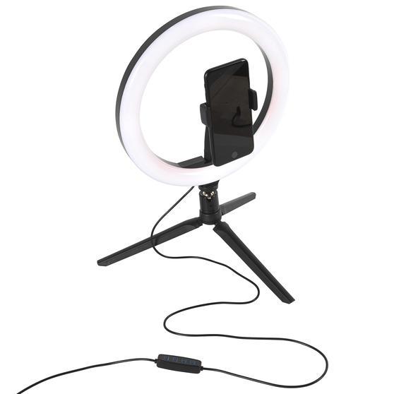 Intempo® EE5977BLKSTKEU7 Sync Desktop Selfie Light Ring Stand with Phone Holder   26 cm   3 Light Modes   USB Powered