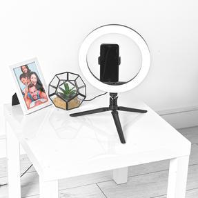 Intempo® EE5977BLKSTKEU7 Sync Desktop Selfie Light Ring Stand with Phone Holder   26 cm   3 Light Modes   USB Powered Thumbnail 3