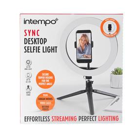Intempo® EE5977BLKSTKEU7 Sync Desktop Selfie Light Ring Stand with Phone Holder   26 cm   3 Light Modes   USB Powered Thumbnail 9