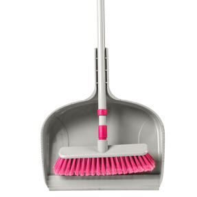 Kleeneze KL075857EU7 Telescopic Dustpan with Broom Set | 120cm Extendable Broom Handle  | Large Capacity Dustpan | Grey/Pink Thumbnail 5