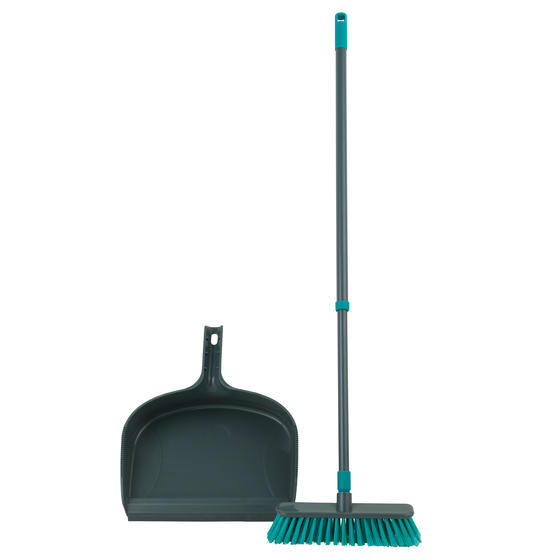 Beldray® Dustpan and Broom Set | Easily Adjustable | Ideal for Most Hard Floors | Grey and Turquoise Thumbnail 1