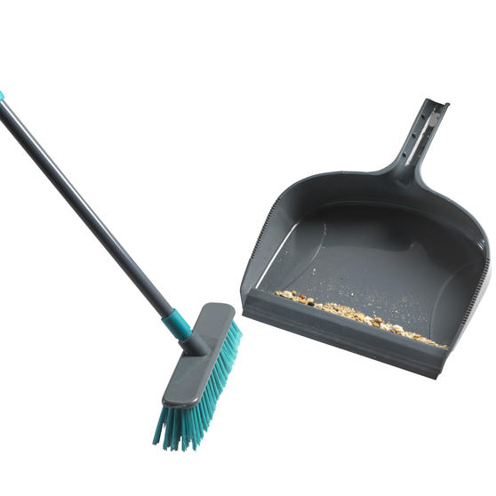 Beldray® Dustpan and Broom Set | Easily Adjustable | Ideal for Most Hard Floors | Grey and Turquoise Thumbnail 2