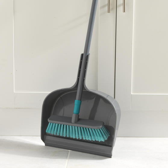 Beldray® Dustpan and Broom Set | Easily Adjustable | Ideal for Most Hard Floors | Grey and Turquoise Thumbnail 3
