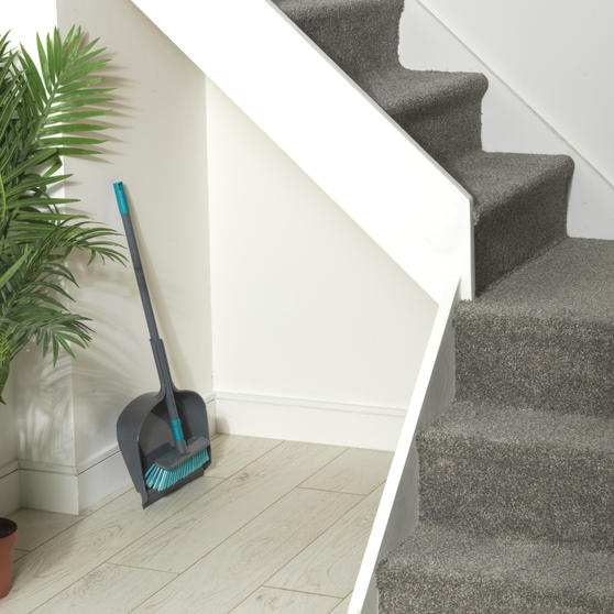 Beldray® Dustpan and Broom Set | Easily Adjustable | Ideal for Most Hard Floors | Grey and Turquoise Thumbnail 4