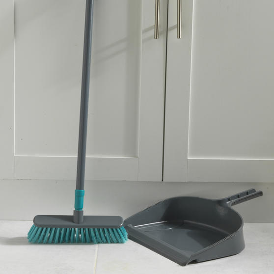 Beldray® Dustpan and Broom Set | Easily Adjustable | Ideal for Most Hard Floors | Grey and Turquoise Thumbnail 5
