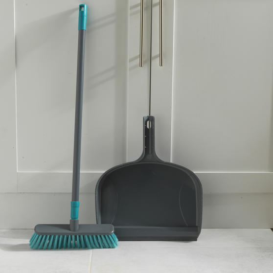 Beldray® Dustpan and Broom Set | Easily Adjustable | Ideal for Most Hard Floors | Grey and Turquoise Thumbnail 6