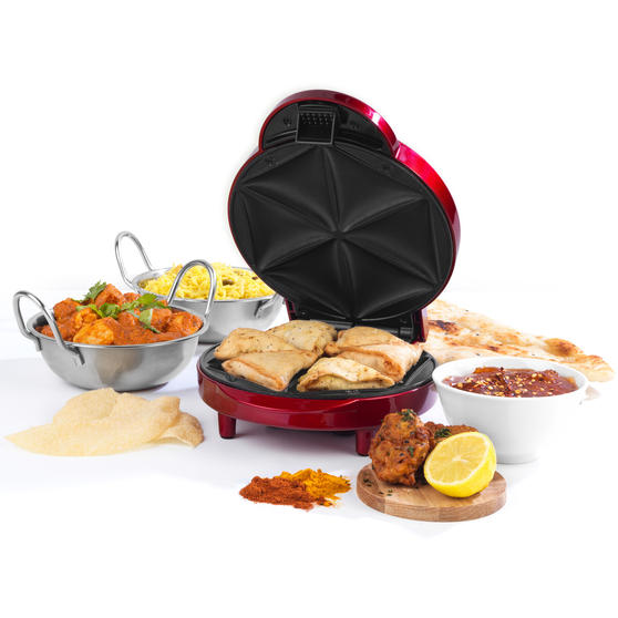 Giles & Posner® Samosa Maker | Non-Stick Coated Cooking Plates | 2 Dripping Trays Included | 1000 W