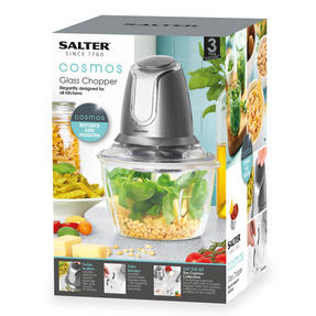 Salter EK3264GUNMETAL Cosmos Electric Glass Food Chopper | 500 W| 1.2 L | Gun Metal | Ideal For Vegetables, Fruits And Nuts Thumbnail 5