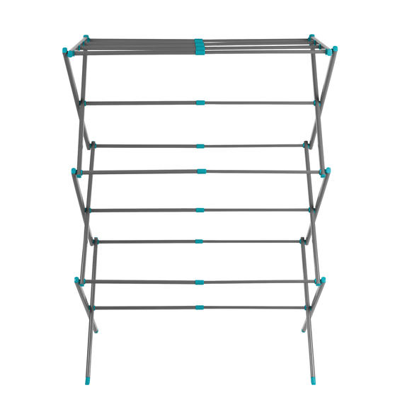 Beldray® LA077615EU7 Three Tier Expandable Clothes Airer | 7 metres of drying space | Lightweight | Compact | Folds Away for Convenient Storage | Turquoise and Grey