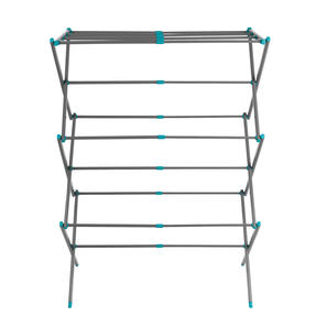 Beldray® LA077615EU7 Three Tier Expandable Clothes Airer | 7 metres of drying space | Lightweight | Compact | Folds Away for Convenient Storage | Turquoise and Grey Thumbnail 1