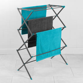 Beldray® LA077615EU7 Three Tier Expandable Clothes Airer | 7 metres of drying space | Lightweight | Compact | Folds Away for Convenient Storage | Turquoise and Grey Thumbnail 3