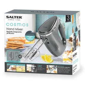 Salter® EK4249GUNMETAL Cosmos Electric Hand Mixer Whisk | Doughs Hooks/Beaters Included | 300 W | 5 Speed Settings/Turbo Thumbnail 8