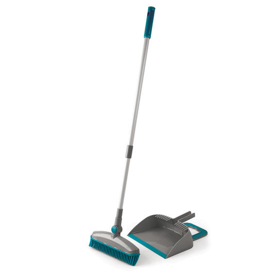 Beldray Pet Plus+ Rubber Dustpan with Broom Set | Compact Design | 180 ° Swivel Head | Grey/Turquoise