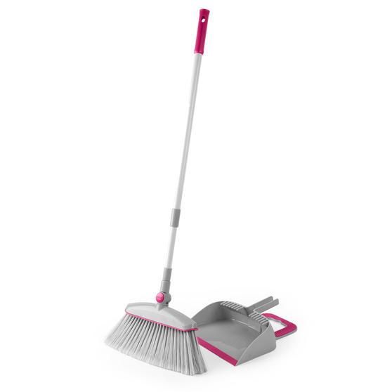 Kleeneze KL068392EU7 Swivel Head Dustpan with Broom Set | Compact Design | 180 °