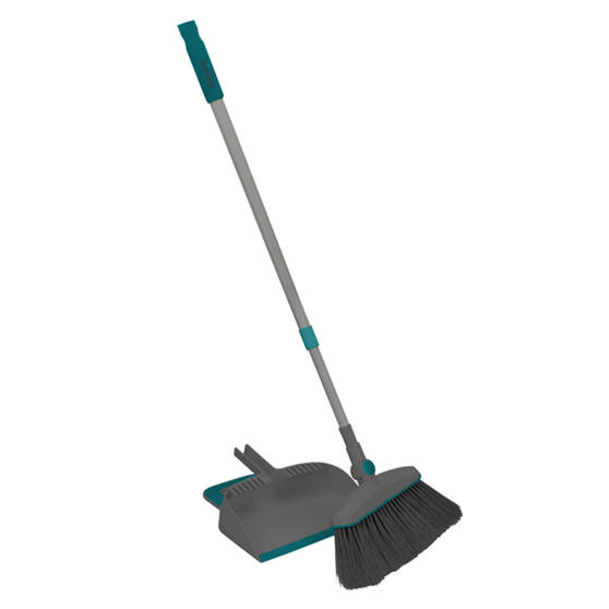 Beldray® LA076076EU7 Dustpan and Broom Set | Swivel Broom Head | Grooves for Removing Dirt | Grey and Turquoise