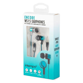 Intempo® EE3794TEASTKEU1 Encore WS 15 Earphones | Superior Sound | Tangle Free Cable | Soft Touch Finish | Teal
