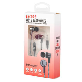 Intempo® EE3794GRYSTKEU1 Encore WS 15 Earphones | Superior Sound | Tangle Free Cable | Soft Touch Finish | Grey