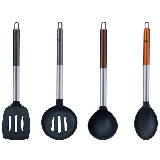 Bergner BG-1352-MT Neon Classic 4-Piece Kitchen Tool Utensil Set | Stainless Steel | Anti-Scratch | Includes Spoon, Skimmer, Slotted Turner, Soup Ladle