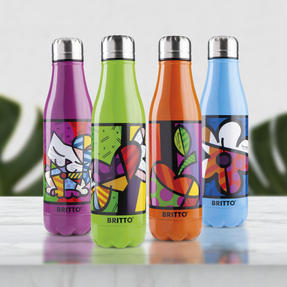 Britto KBR44-PFI Floral Blue Insulated Flask Bottle | 500 ml | Stainless Steel Thumbnail 5