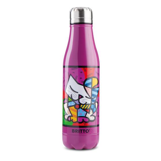 Britto KBR44-PGA Purple & Pop Art Cat Insulated Flask Bottle | 500 ml | Stainless Steel
